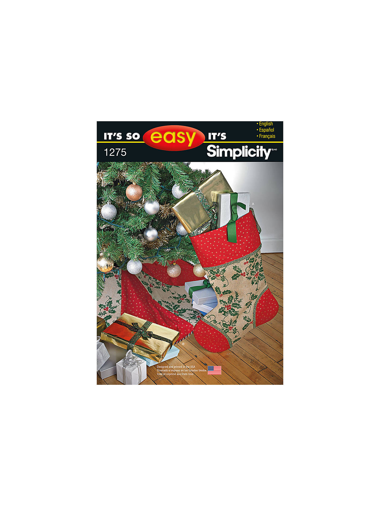 Buy Simplicity It's So Easy Christmas Tree Skirt & Stockings Sewing Pattern, 1275 Online at ...