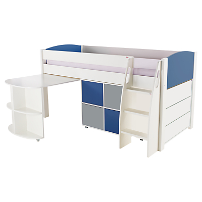 Stompa Uno S Plus Mid-Sleeper with Pull-Out Desk, 3 Drawer Chest and 4 Door Cube Unit