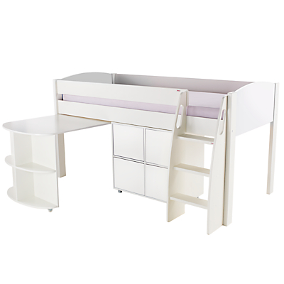 Stompa Uno S Plus Mid-Sleeper with Pull-Out Desk and 4 Door Cube Unit