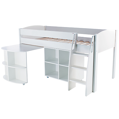 Stompa Uno S Plus Mid-Sleeper Bed with Pull-Out Desk and Cube Unit