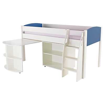 Stompa Uno S Plus Mid-Sleeper Bed with Pull-Out Desk and Bookcase