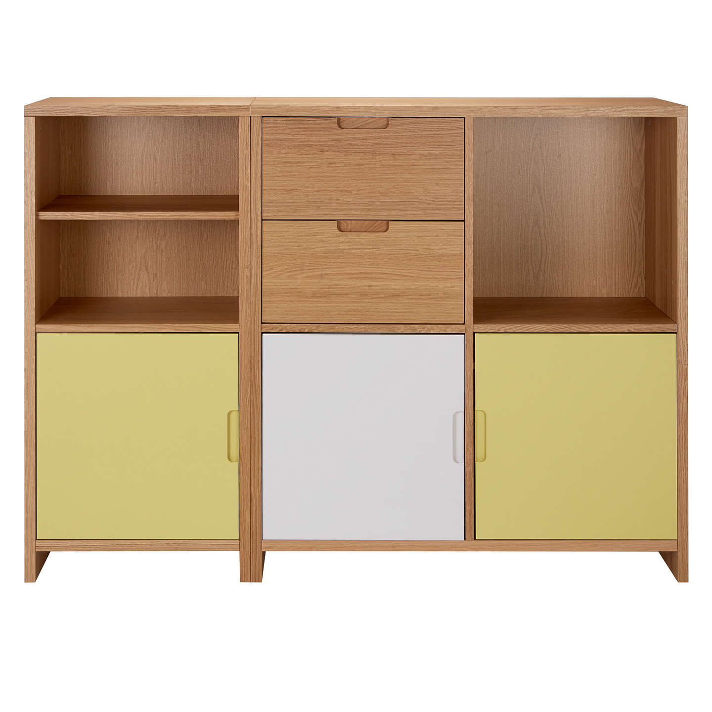 BuyHouse by John Lewis Oxford Shelving Cube Unit with 3 Doors and 2 Drawers, Dandelion / White Online at johnlewis.com