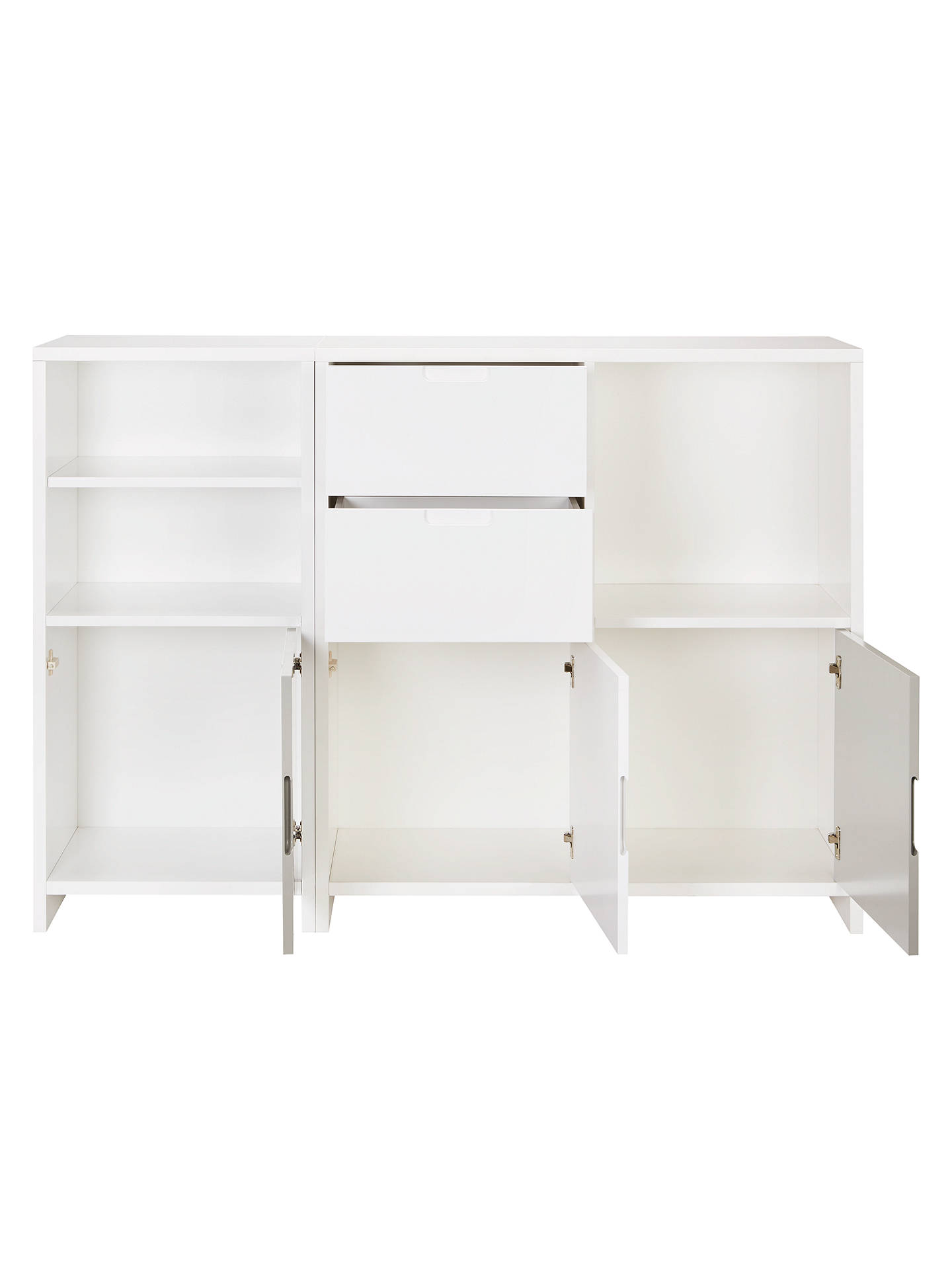 BuyHouse by John Lewis Oxford Shelving Cube Unit with 3 Doors and 2 Drawers, Smoke / White Online at johnlewis.com