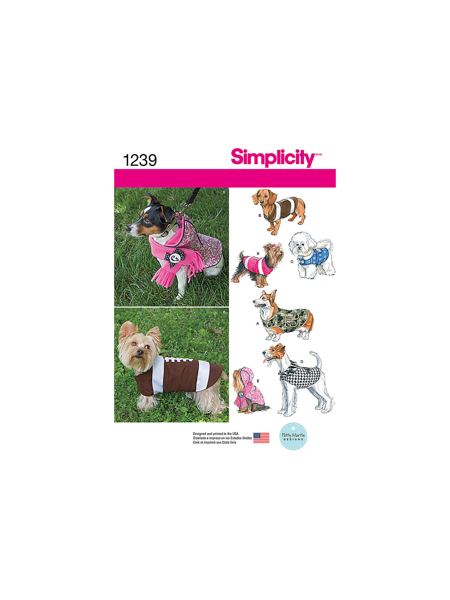 Simplicity Dog Coat Sewing Pattern 1239 At John Lewis Partners