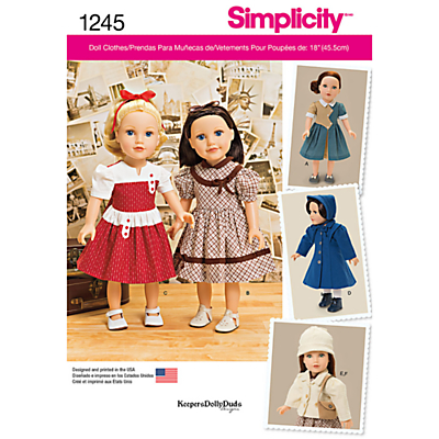 Product photo of Simplicity dolls clothes sewing pattern 1245