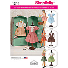 Buy Simplicity Vintage Dolls Clothes Sewing Pattern, 1244 Online at johnlewis.com