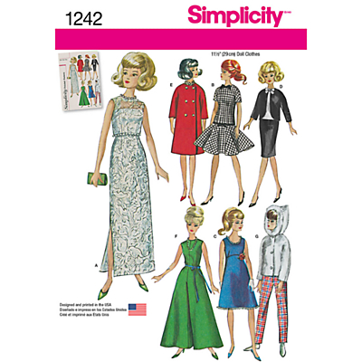 Product photo of Simplicity dolls clothes sewing pattern 1242