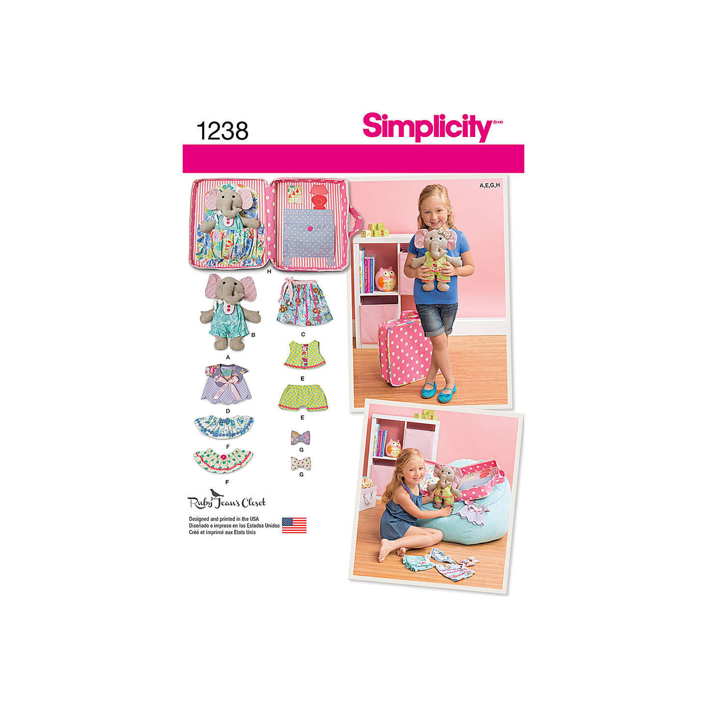 Simplicity ellie the elephant soft toy sewing pattern 1238 at buysimplicity ellie the elephant soft toy sewing pattern 1238 online at johnlewis jeuxipadfo Gallery