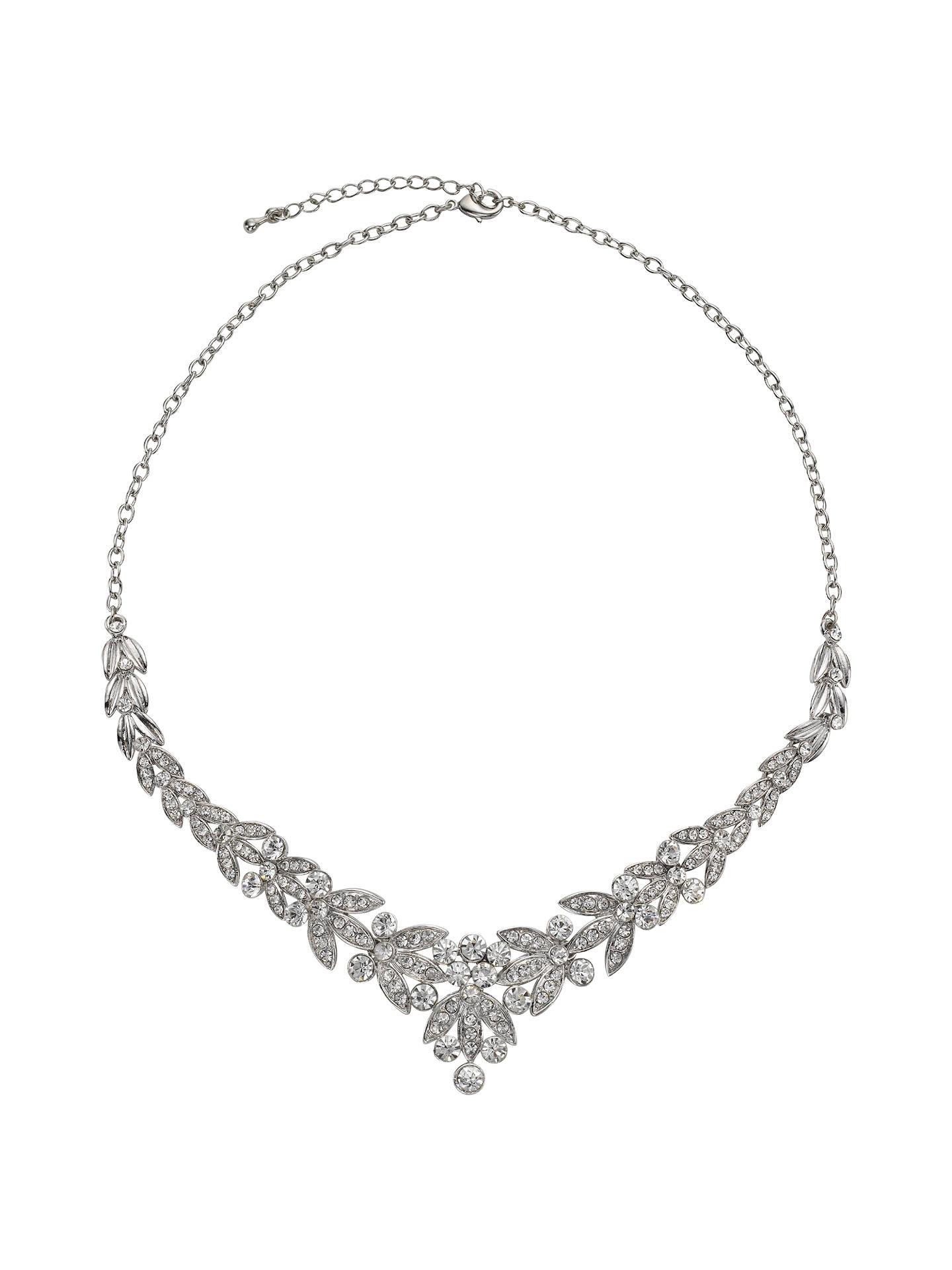029432d17258a John Lewis & Partners Diamante Leaf Statement Necklace, Silver