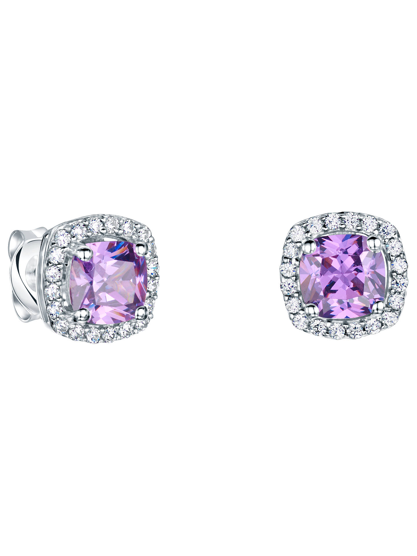 6db11e8bb Buy Jools by Jenny Brown Pavé Surround Cushion Square Cubic Zirconia Stud  Earrings, Amethyst Online