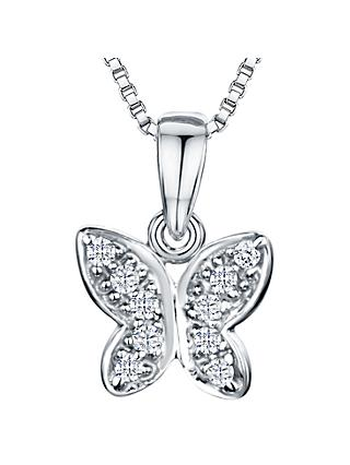 Jools by Jenny Brown Rhodium Plated Silver Cubic Zirconia Butterfly Pendant Necklace, Silver