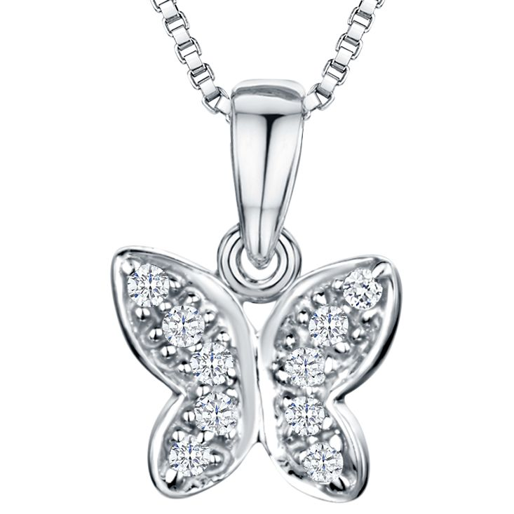 Jools by Jenny Brown Jools by Jenny Brown Rhodium Plated Silver Cubic Zirconia Butterfly Pendant Necklace, Silver