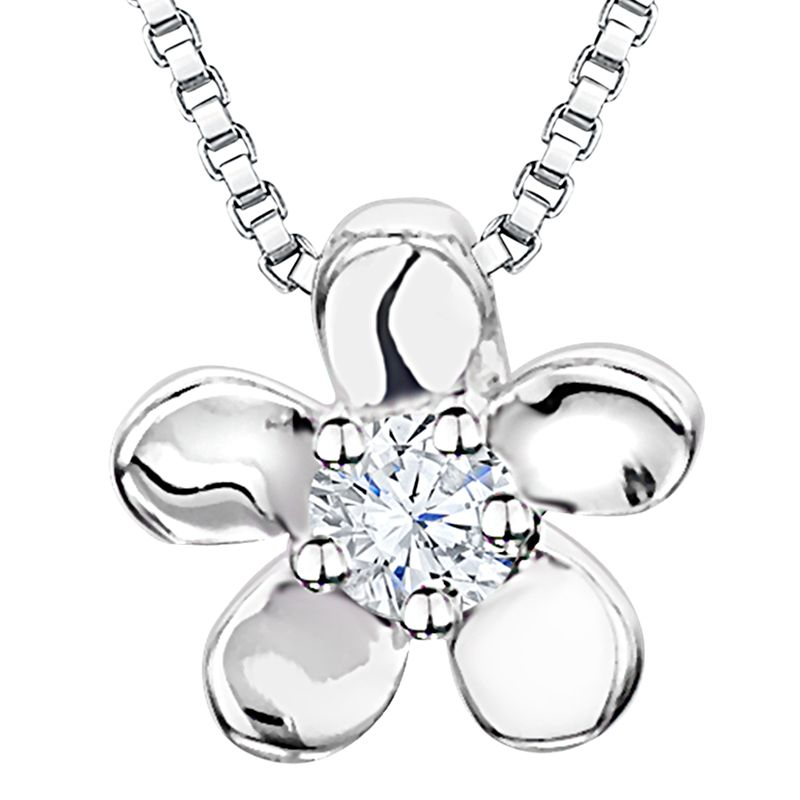 Jools by Jenny Brown Jools by Jenny Brown Rhodium Plated Silver Cubic Zirconia Flower Pendant, Silver