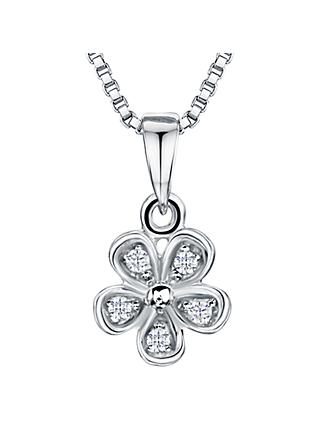 Jools by Jenny Brown Rhodium Plated Silver Cubic Zirconia Flower Pendant, Silver