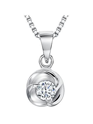 Jools by Jenny Brown Sterling Silver Cubic Zirconia Small Triple Wave Pendant, Silver