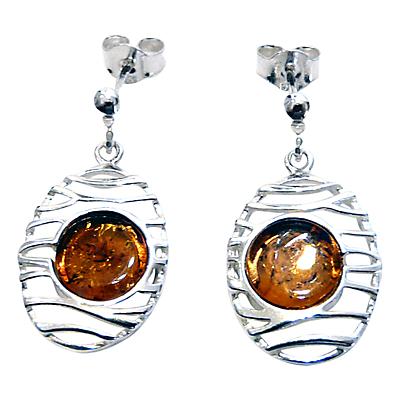 Goldmajor Amber and Sterling Silver Lattice Drop Earrings SilverAmber