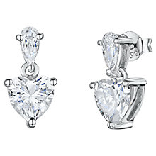 Buy Jools by Jenny Brown Small Cubic Zirconia Heart Drop Earrings, Silver Online at johnlewis.com