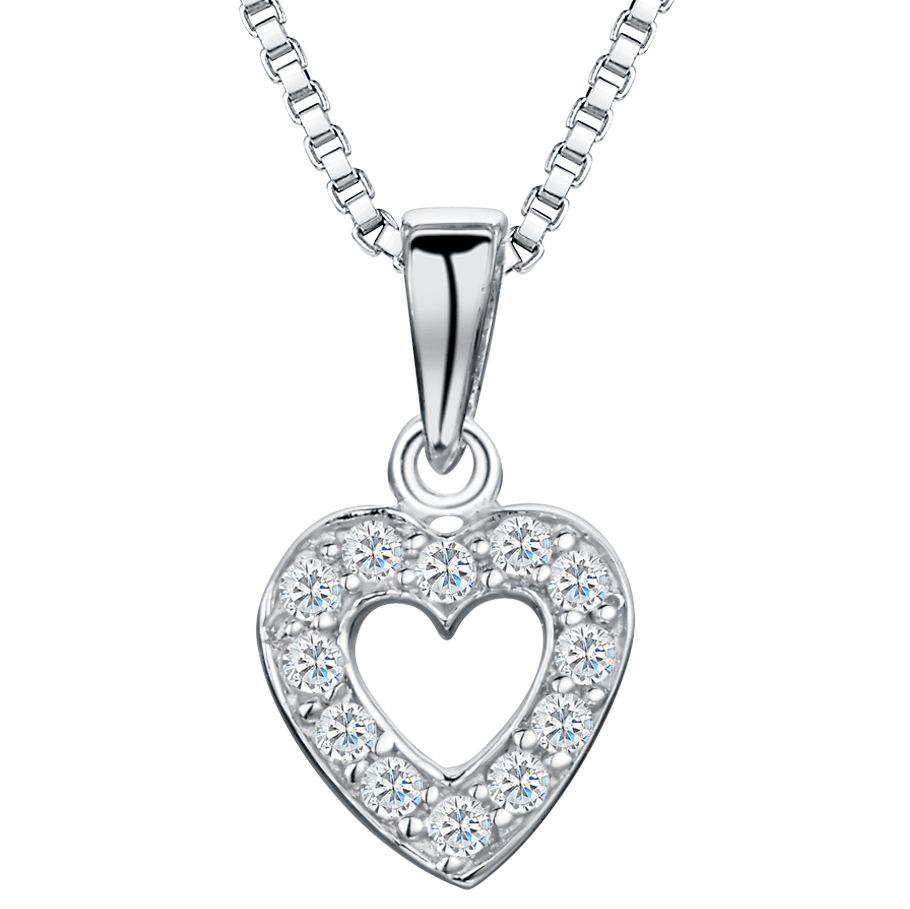 Jools by Jenny Brown Jools by Jenny Brown Rhodium Plated Silver Cubic Zirconia Heart Pendant, Silver