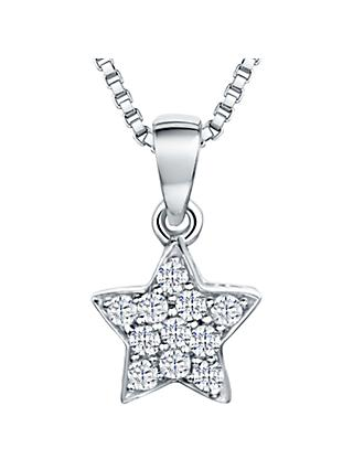 Jools by Jenny Brown Rhodium Plated Silver Cubic Zirconia Star Pendant, Silver