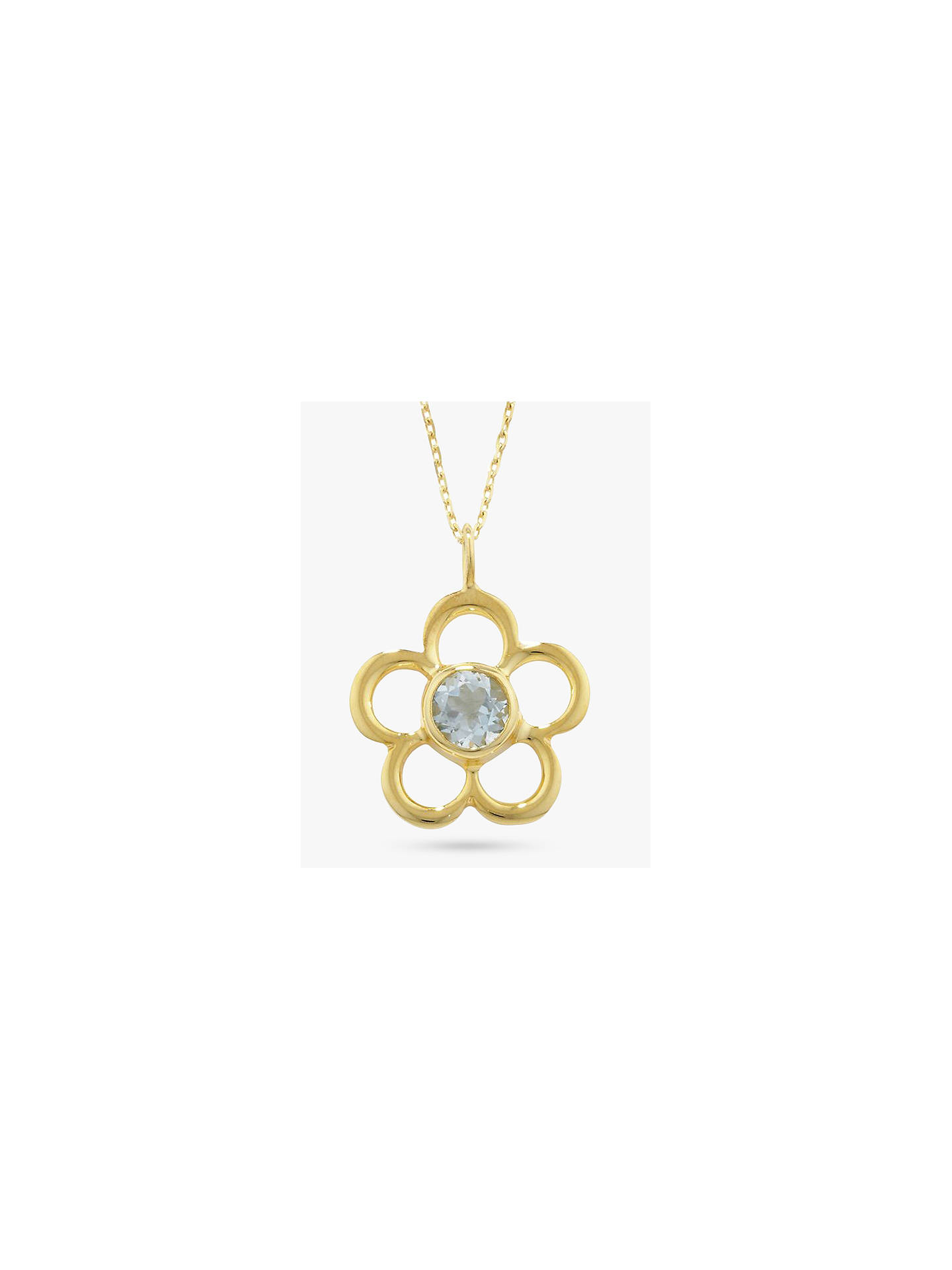 Buy E.W Adams 9ct Gold Birthstone Blossom Pendant Necklace, Aqua Chalcedony/March Online at johnlewis.com