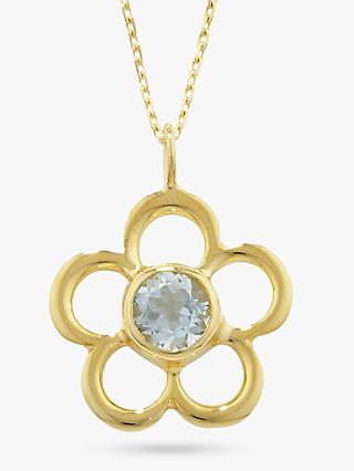 E.W Adams 9ct Gold Birthstone Blossom Pendant Necklace