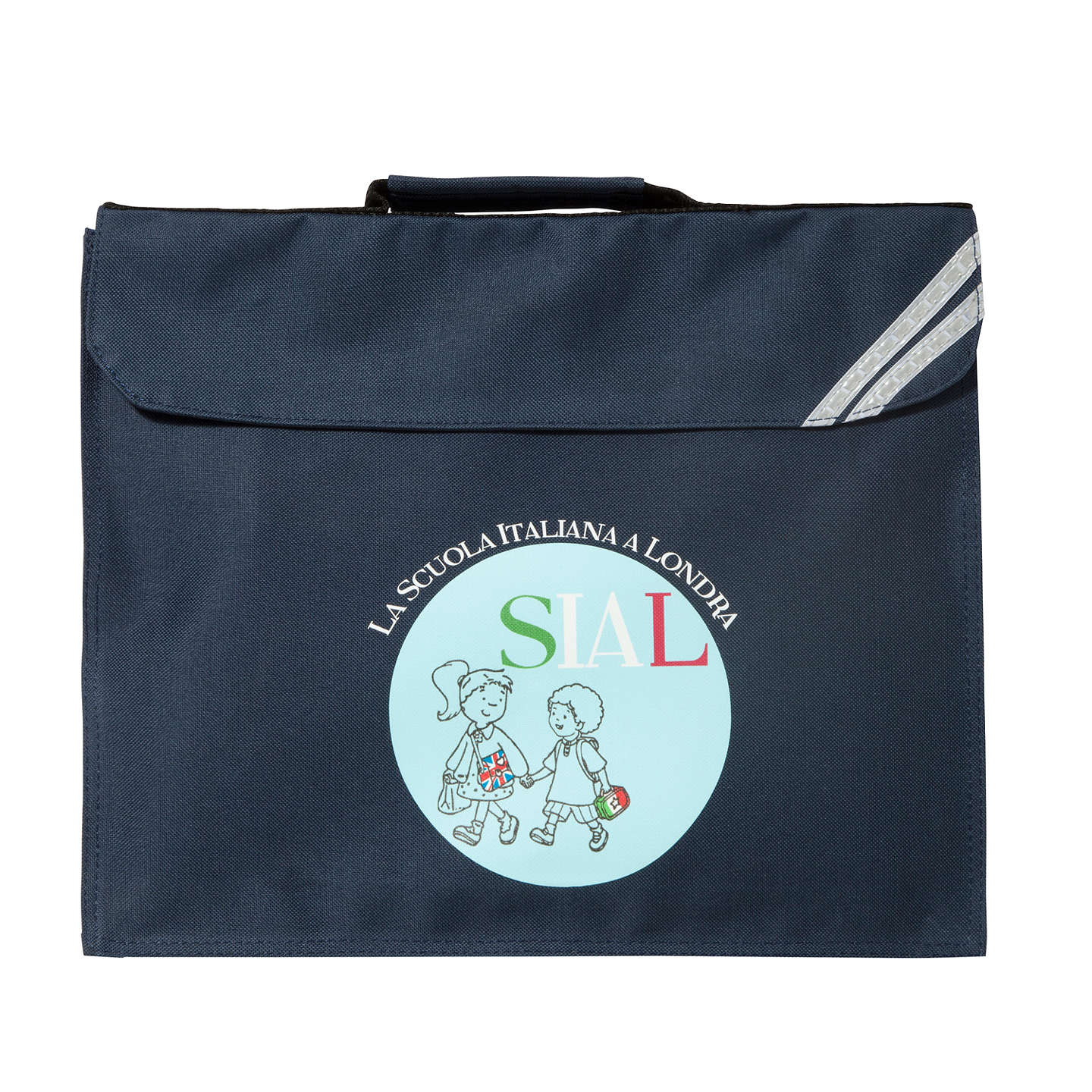 BuyLa Scuola Italiana A Londra Expandable School Book Bag, Navy Online at johnlewis.com
