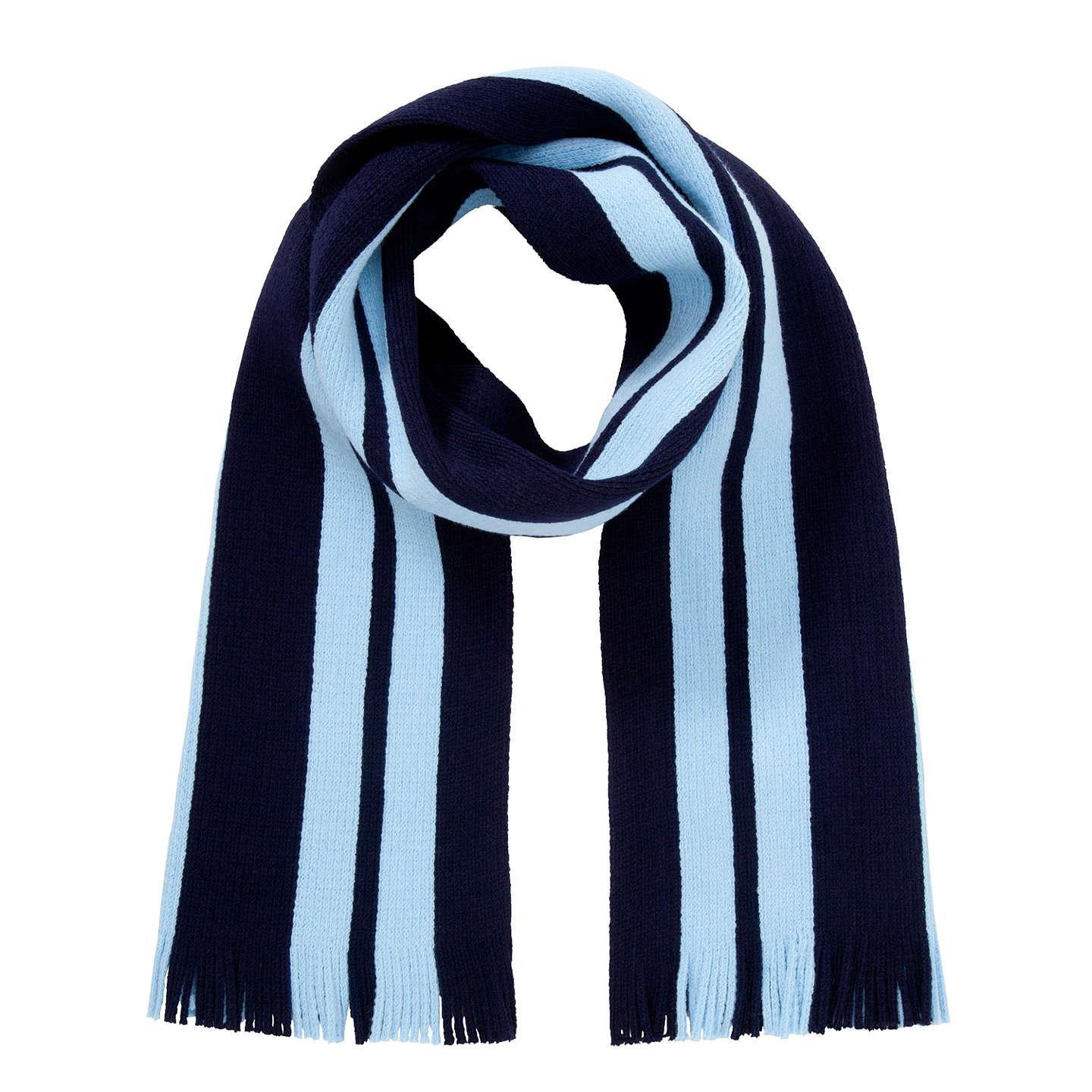 BuyLa Scuola Italiana A Londra Knitted Scarf, Navy/Sky Online at johnlewis.com