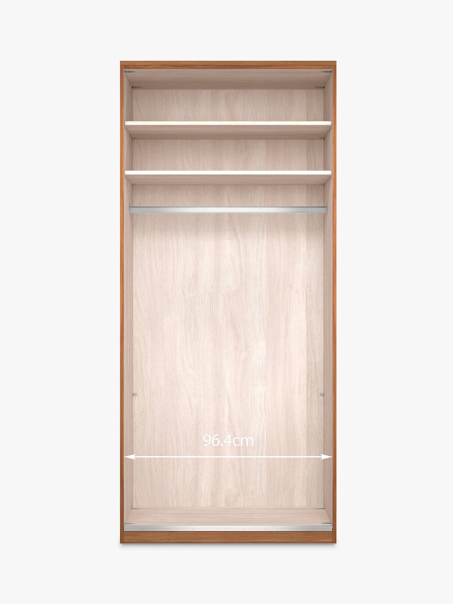 Buy John Lewis & Partners Elstra 100cm Wardrobe with Glass Hinged Doors, White Glass/Light Rustic Oak Online at johnlewis.com