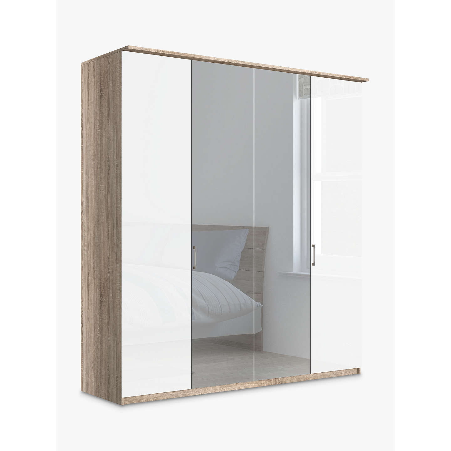 john lewis elstra 200cm wardrobe with glass and mirrored. Black Bedroom Furniture Sets. Home Design Ideas