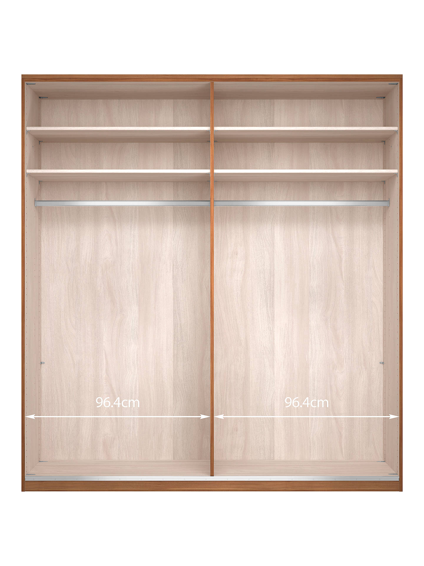 Buy John Lewis & Partners Elstra 200cm Wardrobe with White Glass and Mirrored Hinged Doors, White Glass/Light Rustic Oak Online at johnlewis.com