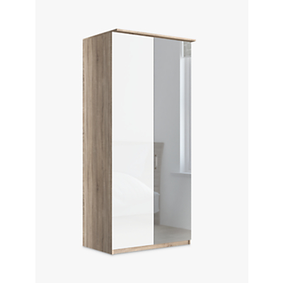 John Lewis & Partners Elstra 100cm Wardrobe with Glass and Mirrored Hinged Doors