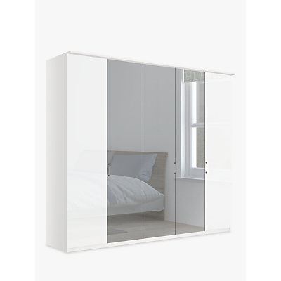 John Lewis & Partners Elstra 250cm Wardrobe with Glass and Mirrored Hinged Doors