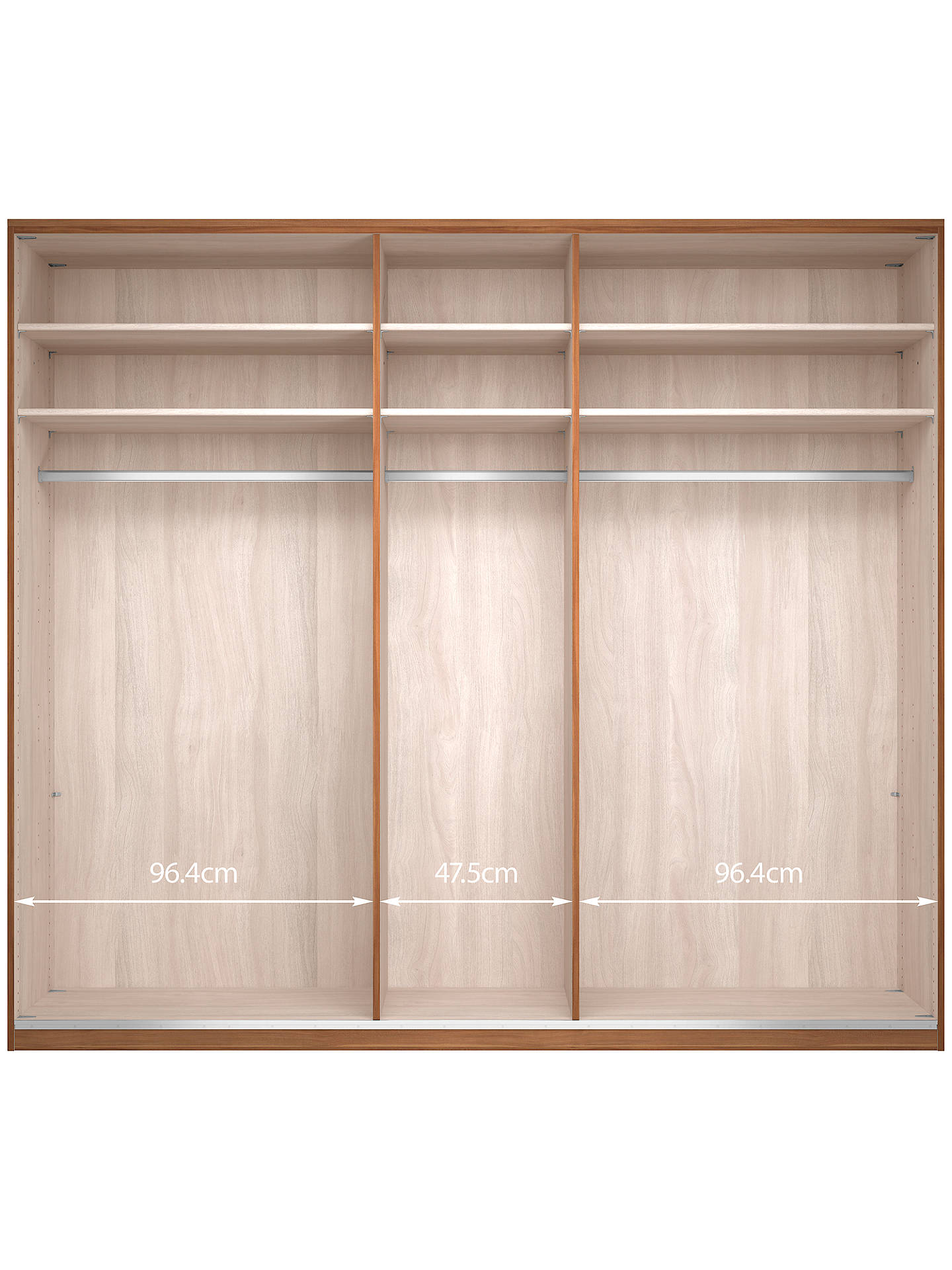 Buy John Lewis & Partners Elstra 250cm Wardrobe with Glass and Mirrored Hinged Doors, White Glass/Matt White Online at johnlewis.com