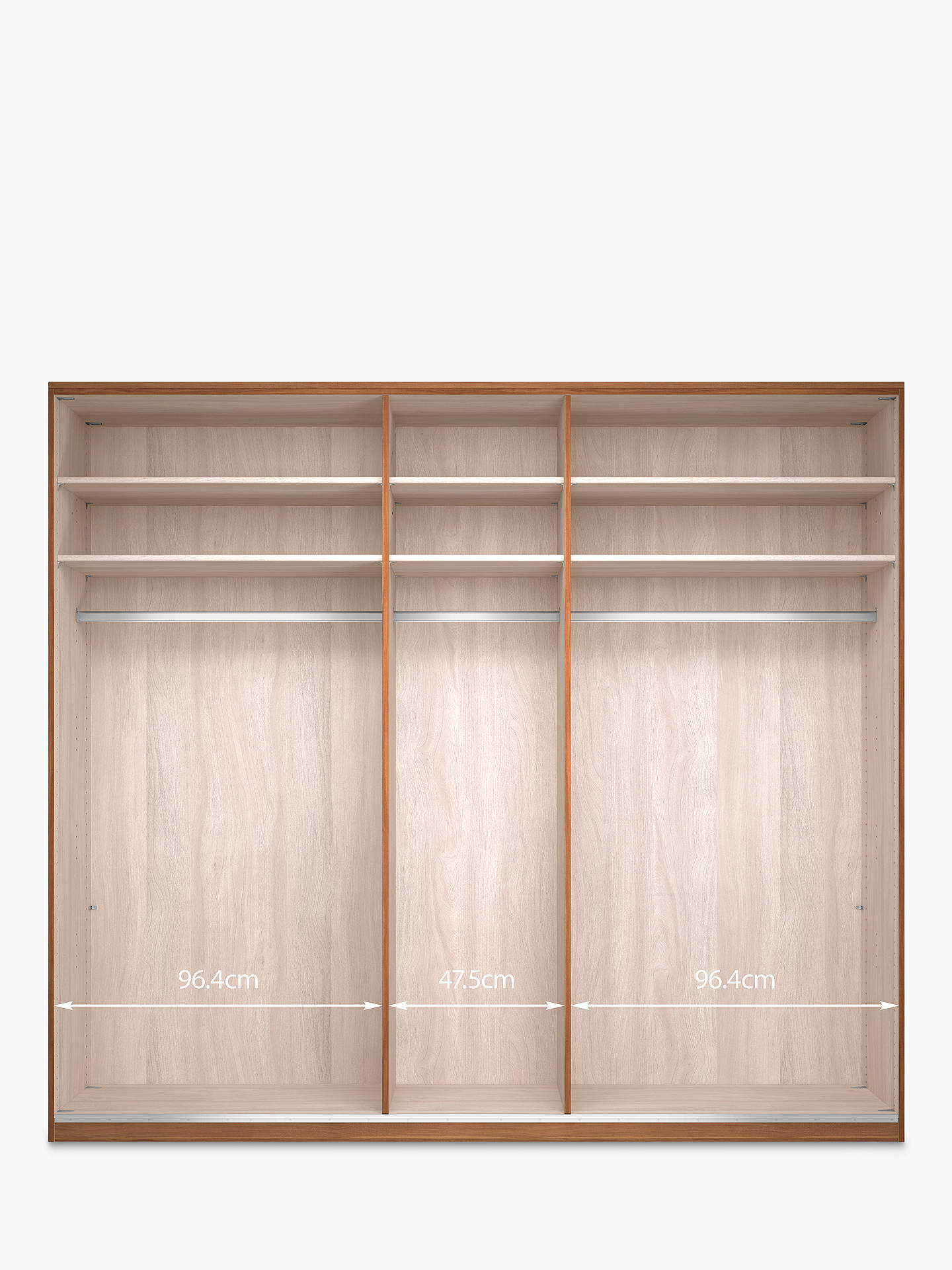 BuyJohn Lewis & Partners Elstra 250cm Wardrobe with Glass Hinged Doors, White Glass/Alpine White Online at johnlewis.com