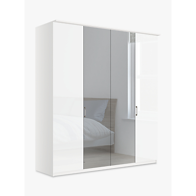 John Lewis & Partners Elstra 200cm Wardrobe with Glass and Mirrored Hinged Doors