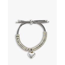 Buy John Lewis Heart Charm Bangle, Silver/Grey Online at johnlewis.com