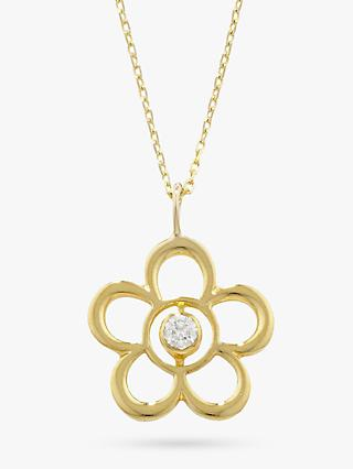 E.W Adams 9ct Gold Open Flower Birthstone Pendant
