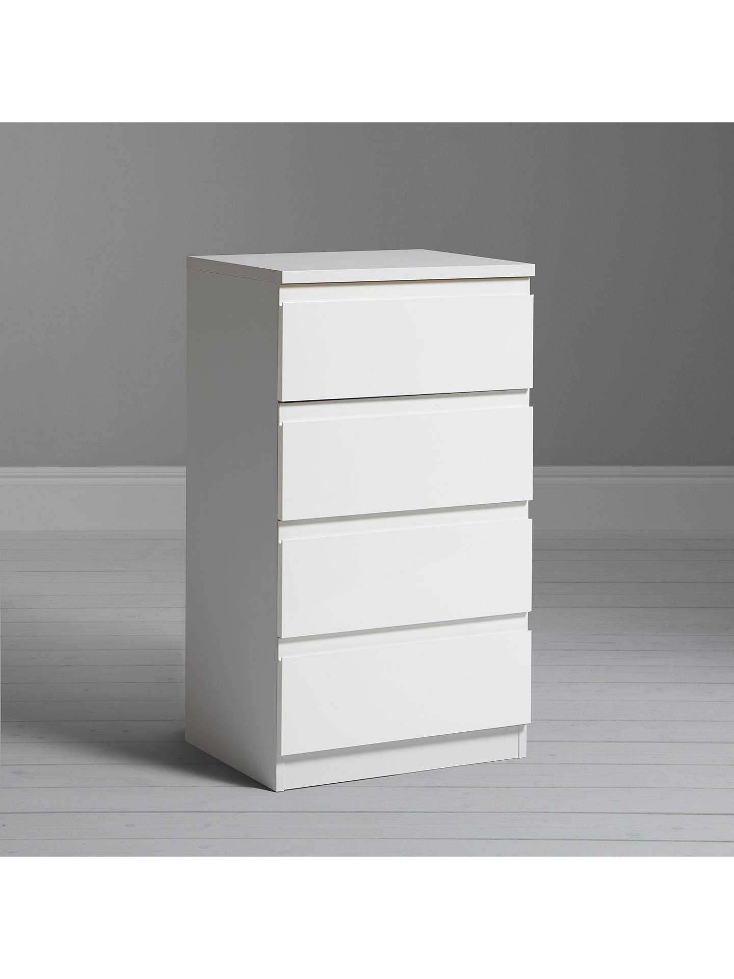 House By John Lewis Mix It Narrow 4 Drawer Chest Gloss White Matt White At John Lewis Partners