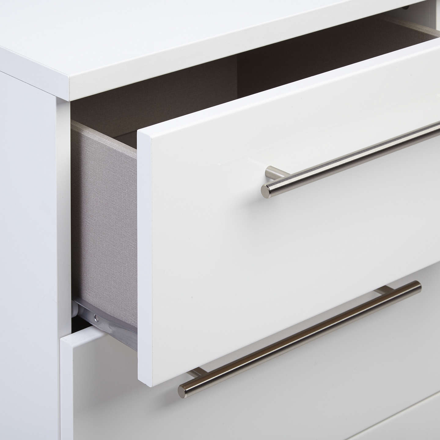 BuyHouse by John Lewis Mix it T-Bar Handle Narrow 4 Drawer Chest, Gloss White/Matt White Online at johnlewis.com