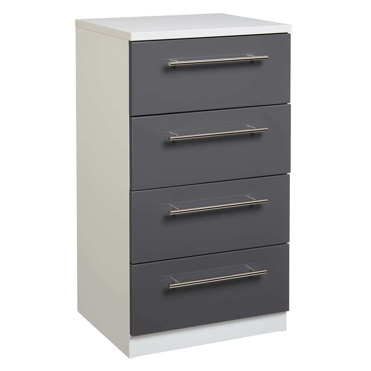 BuyHouse by John Lewis Mix it T-Bar Handle Narrow 4 Drawer Chest, Gloss House Steel/Matt White Online at johnlewis.com