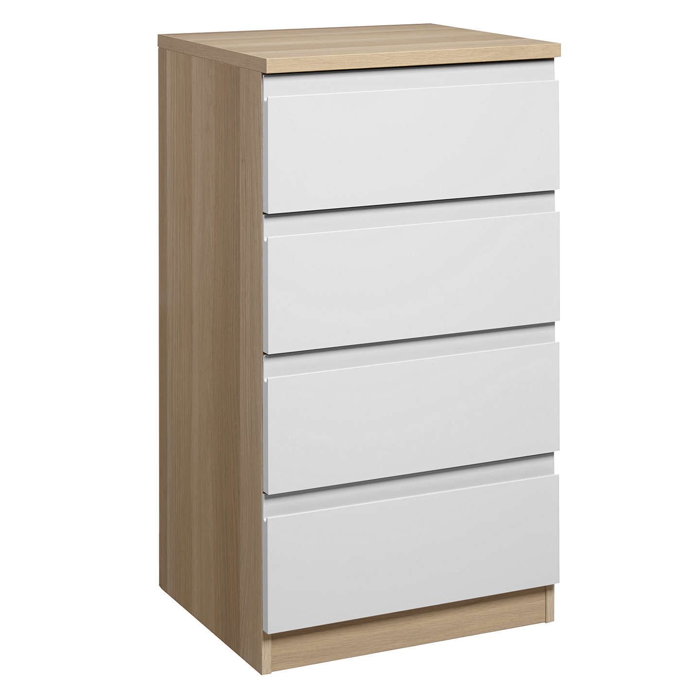 BuyHouse by John Lewis Mix it Narrow 4 Drawer Chest, Gloss White/Natural Oak Online at johnlewis.com