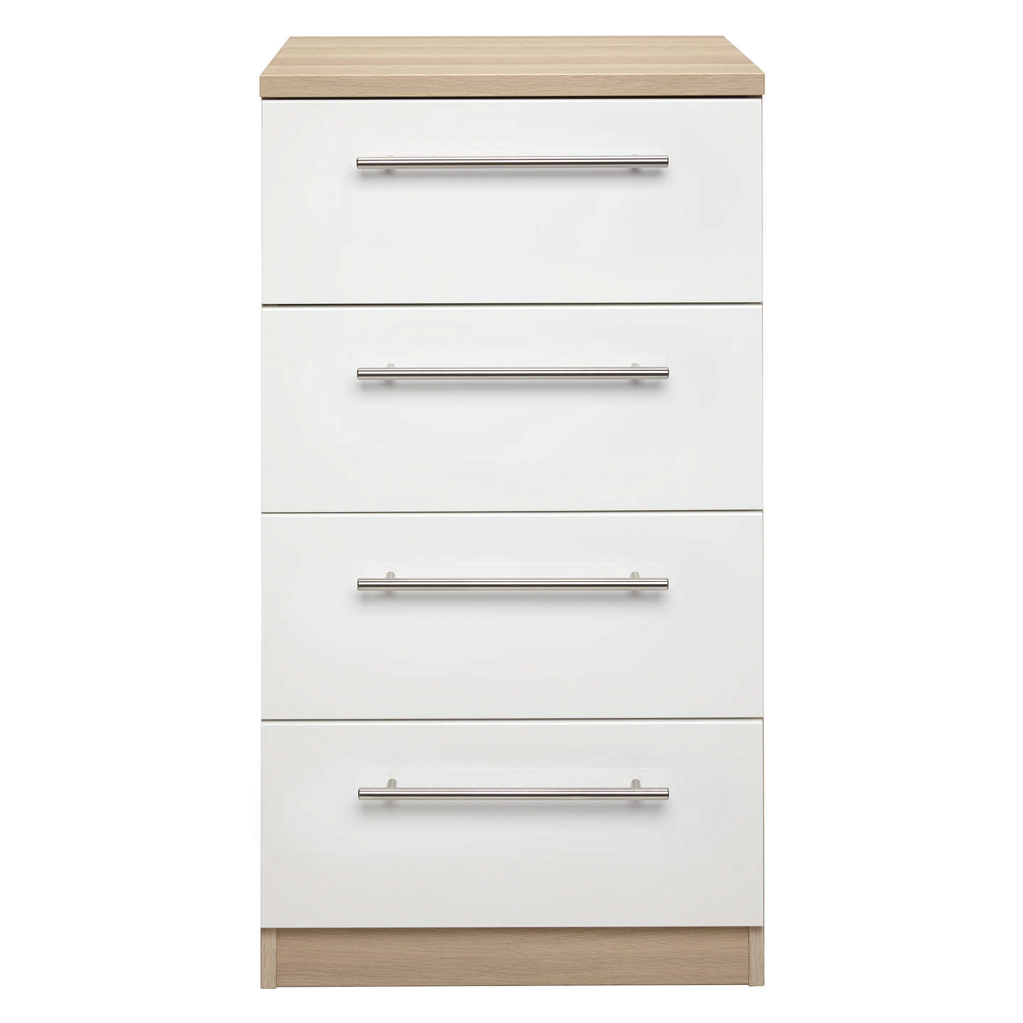 BuyHouse by John Lewis Mix it T-Bar Handle Narrow 4 Drawer Chest, Gloss White/Natural Oak Online at johnlewis.com