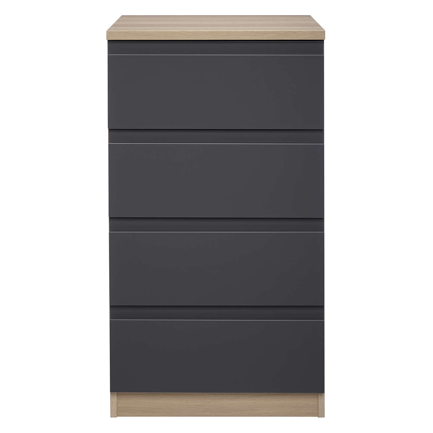 BuyHouse by John Lewis Mix it Narrow 4 Drawer Chest, Gloss House Steel/Natural Oak Online at johnlewis.com
