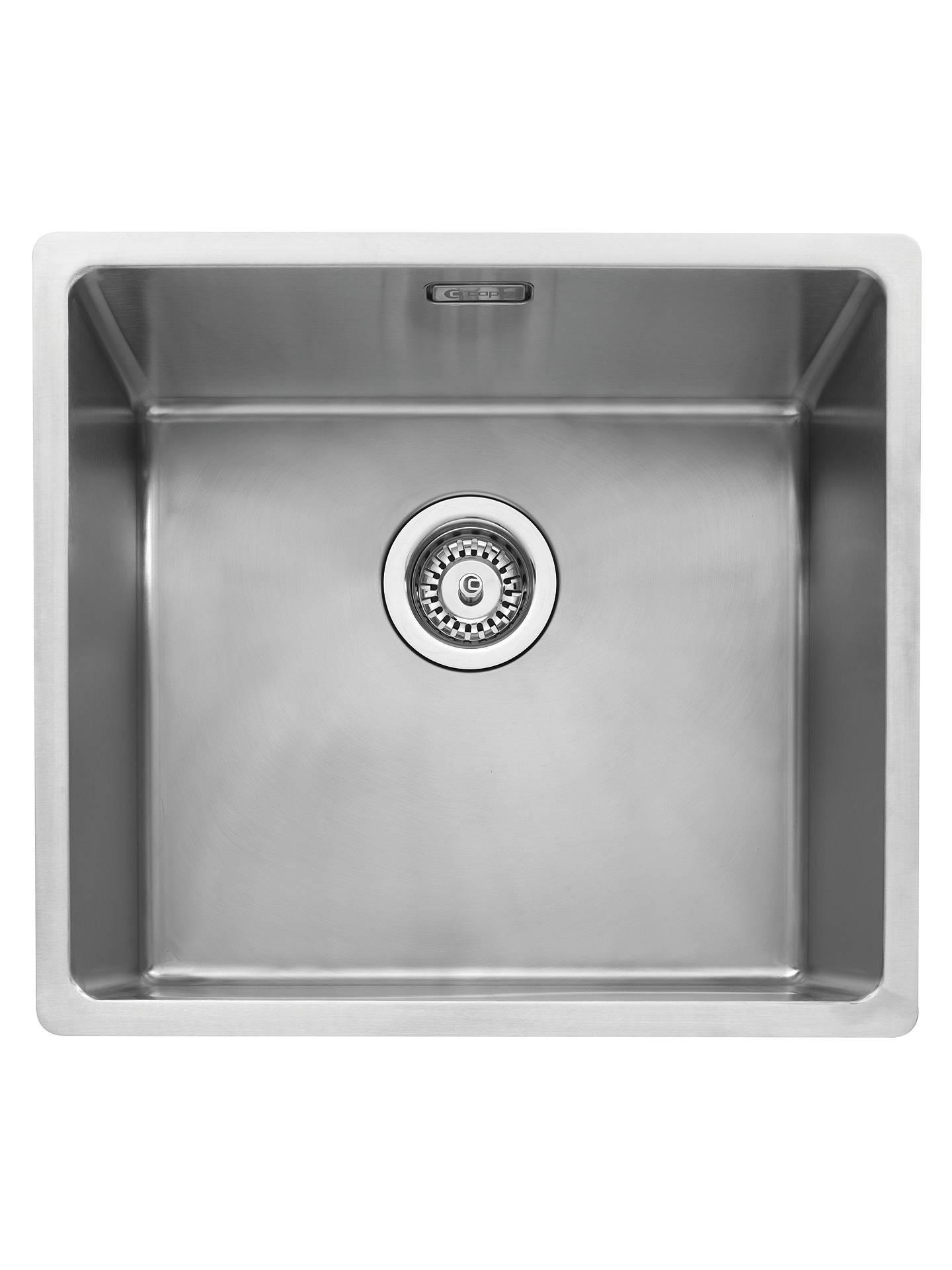 John Lewis Undermount Single Bowl Kitchen Sink, Stainless