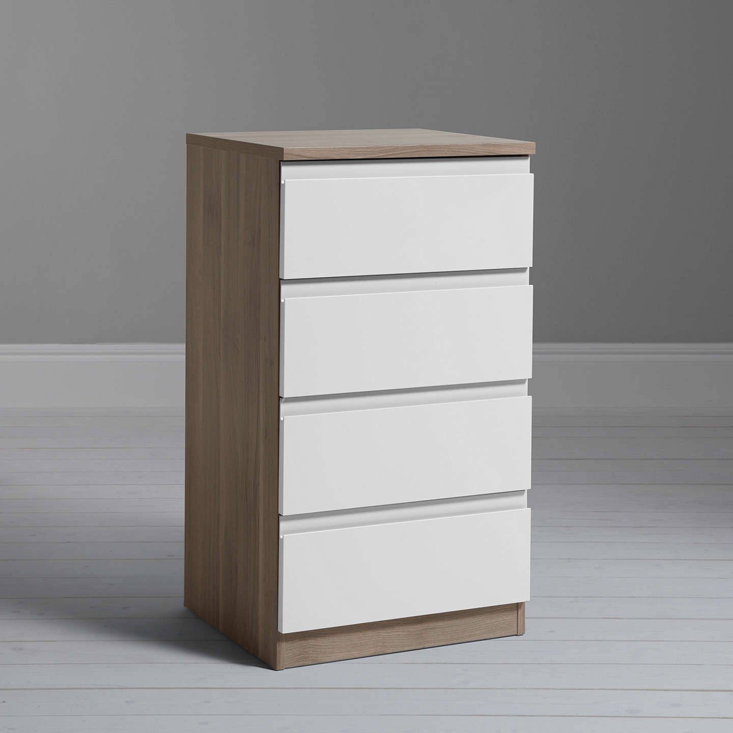 BuyHouse by John Lewis Mix it Narrow 4 Drawer Chest, Gloss White/Grey Ash Online at johnlewis.com