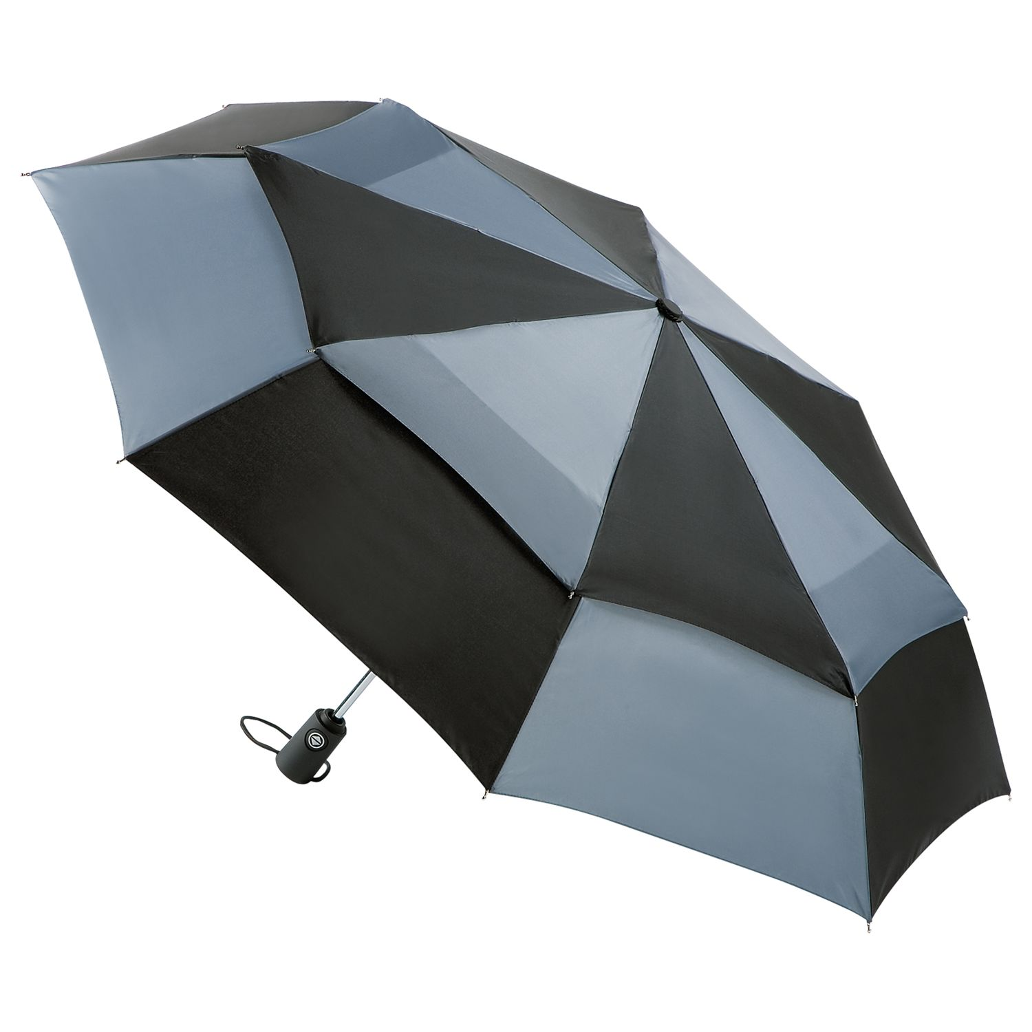 Totes totes Wonderlight Auto Double Canopy Umbrella, Black/Grey