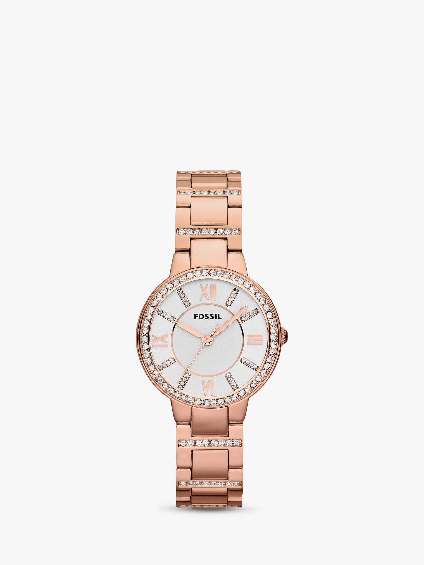 8ce0ce32ee Fossil ES3284 Women's Virginia Stainless Steel Bracelet Strap Watch, Rose  Gold/White