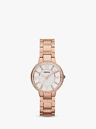 Fossil ES3284 Women's Virginia Stainless Steel Bracelet Strap Watch, Rose Gold/White