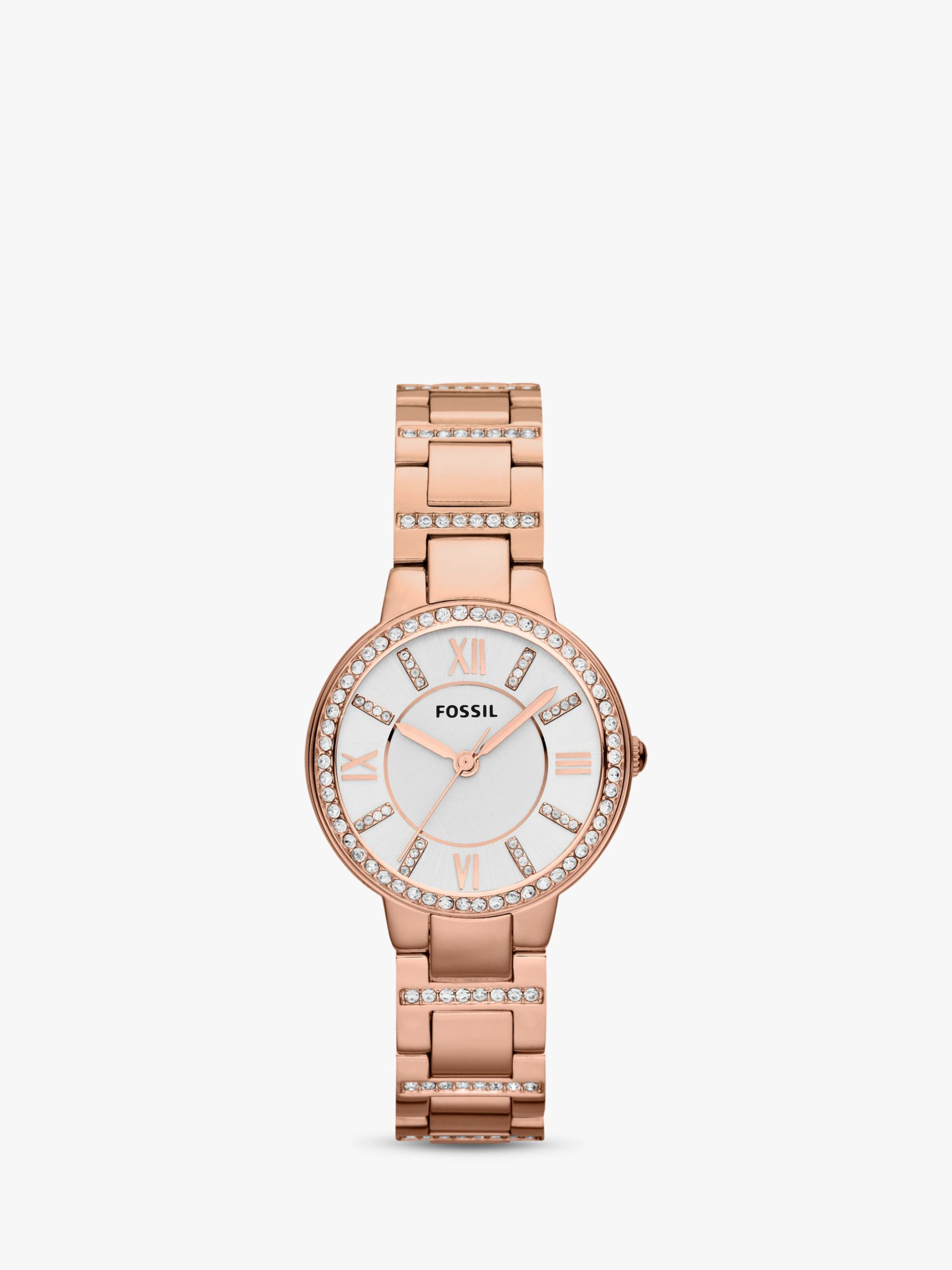 Fossil Fossil ES3284 Women's Virginia Stainless Steel Bracelet Strap Watch, Rose Gold/White
