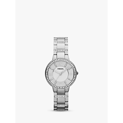 Fossil ES3282 Women's Virginia Stainless Steel Bracelet Strap Watch, Silver